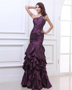 Une Epaule Perles Etage Longueur Taffetas Couches Robe De Soirée Femme Plisse