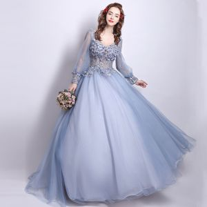 Affordable Prom Dresses 2017 Lace Beading Appliques Flower Backless Pearl V-Neck Long Sleeve Floor-Length / Long Grey Ball Gown