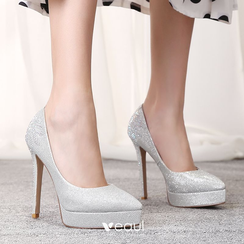 Sparkly Gold Leather Wedding Shoes 2019 Rhinestone Sequins 12 cm Stiletto Heels Pointed Toe Wedding Pumps