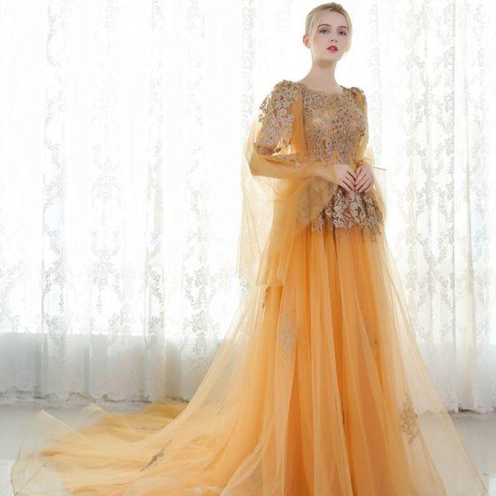 Chic / Beautiful Evening Dresses  2017 Gold A-Line / Princess Chapel Train Scoop Neck Long Sleeve Sash Lace Appliques Flower Pearl Sequins Formal Dresses