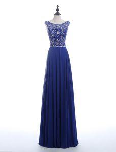 Prickelnde Abendkleider 2016 U-ausschnitt Sicke Pailletten Strass Royalblau Chiffon Langen Rückenfreies Kleid