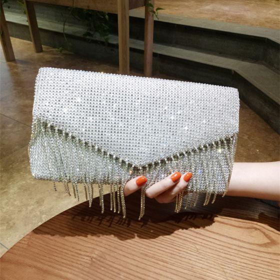 Sparkly Sølv Glitter Rhinestone Tassel Clutch Taske 2018