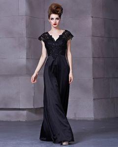 Charmeuse Satin Lace Sequins V Neck Sleeveless Backless Floor Length Pleated Evening Dress