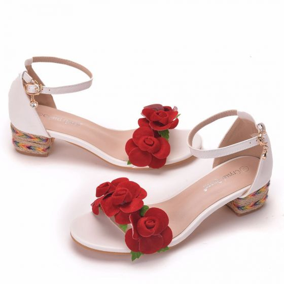 Mooie / Prachtige Witte Toevallig Sandalen Dames 2020 Enkelband Rode Bloem 4 cm Dikke Hak Lage Hak Peep Toe Sandalen