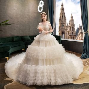 Fabulous Champagne Wedding Dresses 2019 Ball Gown Spaghetti Straps Ruffle Lace Flower Sequins Sleeveless Backless Royal Train