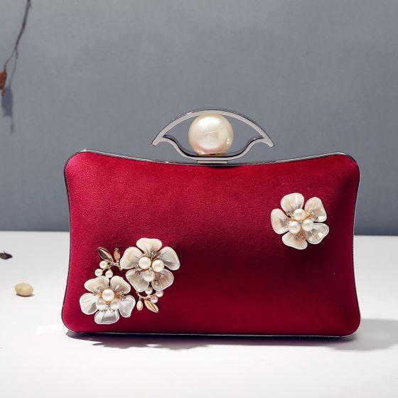 Vintage Borgoña Terciopelo Cuadradas Bolsas de embrague 2020 Metal Rebordear Perla Rhinestone Flor