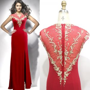 Classy Red Evening Dresses  2019 A-Line / Princess Scoop Neck Rhinestone Lace Flower Cap Sleeves Split Front Floor-Length / Long Formal Dresses