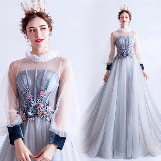 Vintage / Retro Flower Fairy Sky Blue Prom Dresses 2020 A-Line / Princess Ruffle High Neck Pearl Rhinestone Sequins Flower Lace Long Sleeve Backless Court Train Formal Dresses