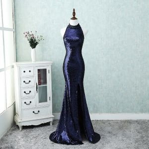 Sparkly Bling Bling Evening Dresses  2018 A-Line / Princess High Neck Zipper Up Navy Blue Court Train Beading Polyester Evening Party Formal Dresses