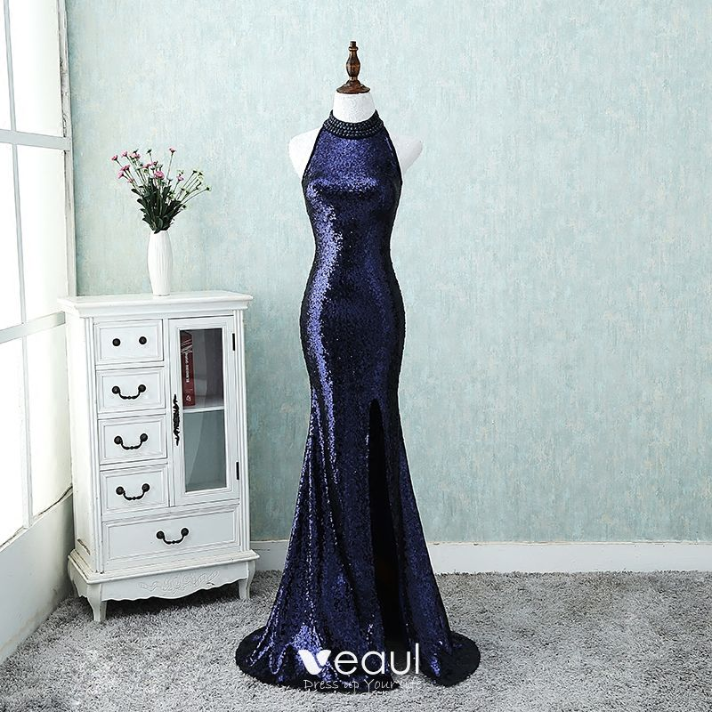 a22770abf2 Sparkly Bling Bling Evening Dresses 2018 A-Line / Princess High Neck Zipper  Up Navy Blue Court Train Beading ...
