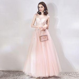 Chic / Belle Transparentes Perle Rose Robe De Soirée 2019 Princesse Encolure Dégagée Sans Manches Étoile Perlage Faux Diamant Longue Volants Dos Nu Robe De Ceremonie