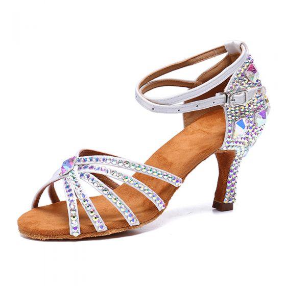 Seksowne Uroczy Białe Rhinestone Latin Buty Taneczne 2020 Z Paskiem 8 cm Szpilki Peep Toe Taniec Sandały