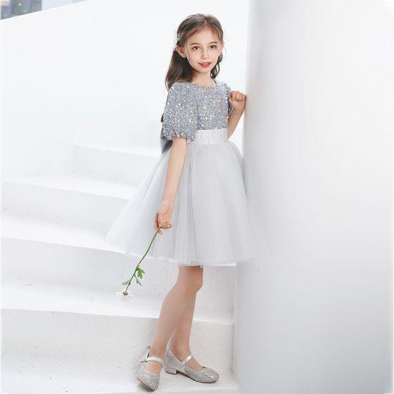 Fashion Grey Sequins Short Birthday Bow Flower Girl Dresses 2021 A-Line / Princess Scoop Neck Short Sleeve