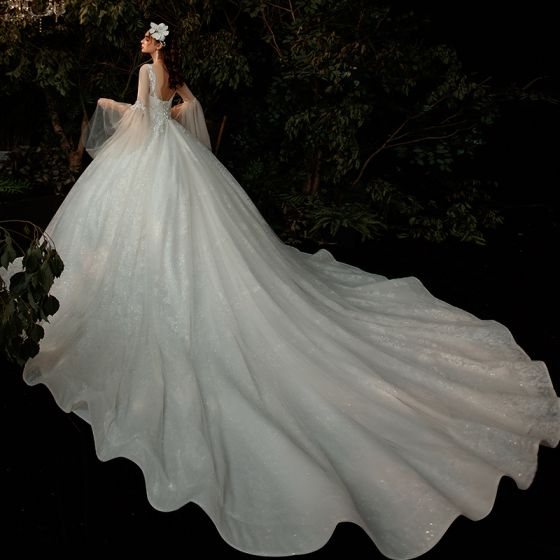 Romantic Champagne Wedding Dresses 2020 Ball Gown See-through Scoop Neck Bell sleeves Backless Beading Glitter Tulle Cathedral Train Ruffle