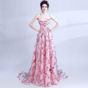 Hada de las flores Rosa Vestidos de gala 2017 A-Line / Princess Sweetheart Sin Mangas Apliques Flor Impresión Chapel Train Sin Espalda Vestidos Formales