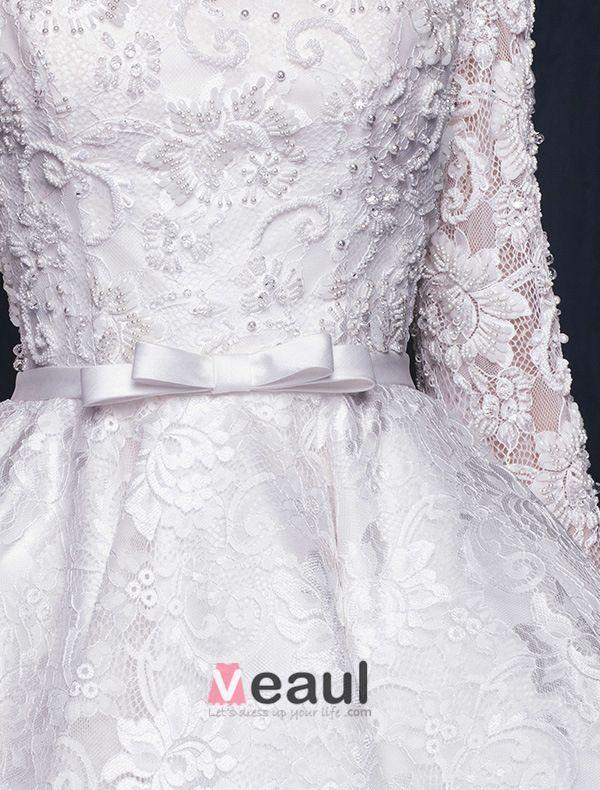 Herrlich A-line Quadratische Ausschnitt-rüsche Kurze Asymmetrische Spitze Brautkleid