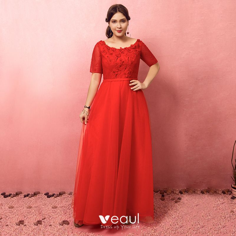 Chic / Beautiful Red Plus Size Evening Dresses 2018 A-Line / Princess Tulle  U-Neck Appliques Backless Beading Evening Party Prom Dresses