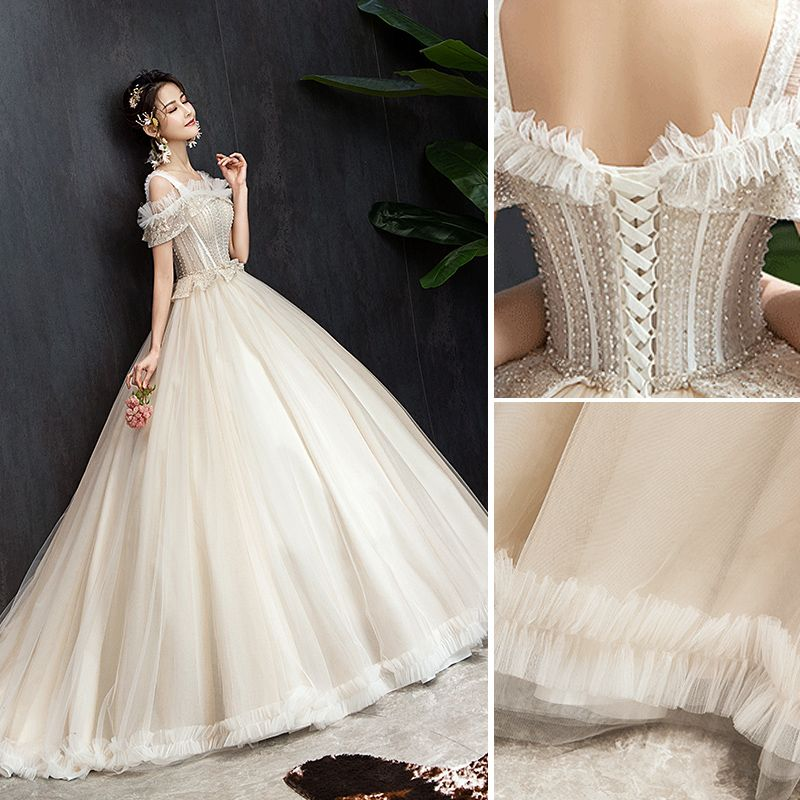 Elegant Champagne Wedding Dresses 2019 Ball Gown Ruffle Square Neckline Beading Sequins Short Sleeve Backless Court Train