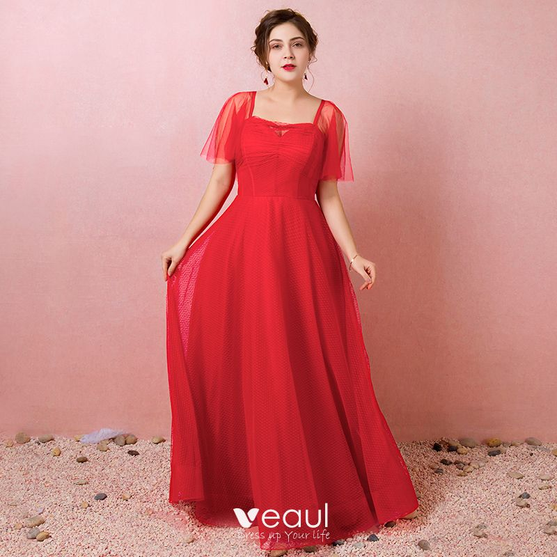 Modest / Simple Red Plus Size Evening Dresses 2018 A-Line / Princess Tulle  Square Neckline Spotted Spring Evening Party Formal Dresses