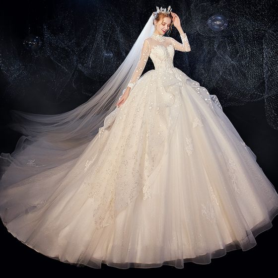 Vintage / Retro Ivory See-through Wedding Dresses 2020 Ball Gown High Neck Long Sleeve Backless Glitter Tulle Appliques Lace Beading Chapel Train Ruffle