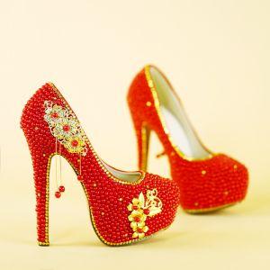 Style Chinois Rouge Perlage Chaussure De Mariée 2019 Fleur Gland 14 cm Talons Aiguilles À Bout Rond Mariage Escarpins