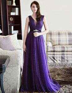 2015 A-line Shoulders Deep V-neck Tulle Evening Dress With Sash
