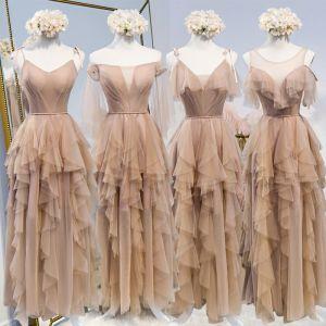 Schöne Durchsichtige Champagner Brautjungfernkleider 2020 A Linie Stoffgürtel Lange Fallende Rüsche Rückenfreies Kleider Für Hochzeit