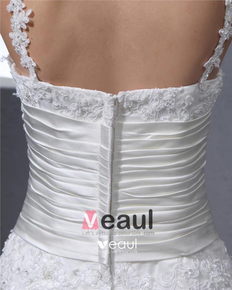 Satin Lace Round Neck Chapel Mermaid Bridal Gown Wedding Dress