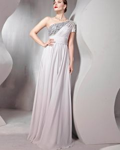 Perlen Tüll Seidencharmeuse Ein Schultergurt Bodenlangen Abendkleider