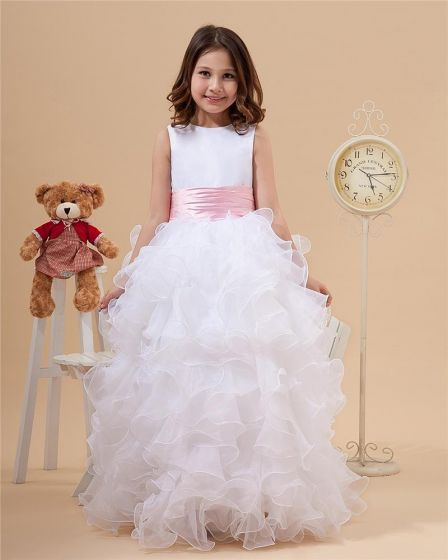 Multi Layers Hem Satin Organza Flower Girl Dresses