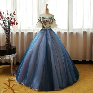 Chic / Beautiful Champagne Ocean Blue Prom Dresses 2017 Ball Gown Off-The-Shoulder 1/2 Sleeves Appliques Lace Flower Rhinestone Floor-Length / Long Ruffle Backless Formal Dresses