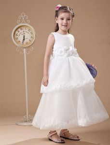 Adorable White Gauze Sash A-Line Dress For Flower Girl