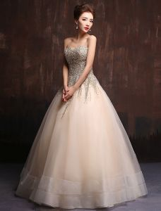 Glitter Sweetheart Beading Sequins Champagne Organza Floor Length Long Prom Dress