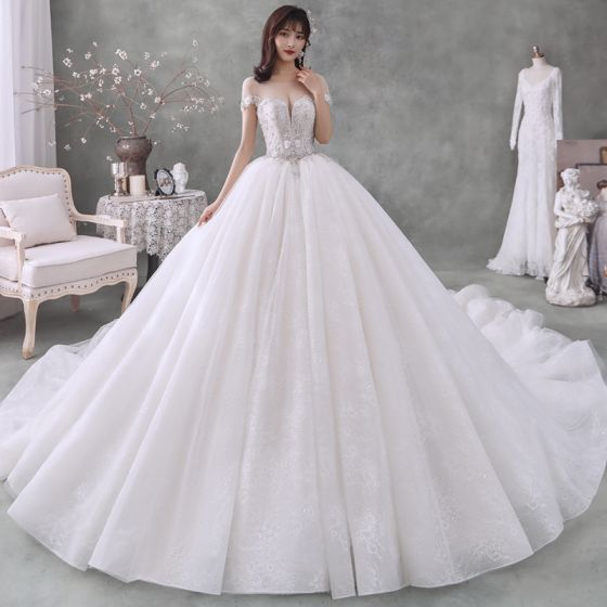 Best White See-through Bridal Wedding Dresses 2020 Ball Gown Scoop Neck Short Sleeve Appliques Flower Beading Rhinestone Cathedral Train