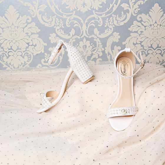 Unique Blanche Mariage Sandales 2019 7 cm Cuir Perlage Perle Faux Diamant Peep Toes / Bout Ouvert Talons Aiguilles Chaussure De Mariée