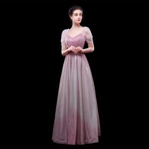 Mooie / Prachtige Gradiëntkleur Candy Roze Avondjurken 2019 A lijn V-Hals Glans Polyester Korte Mouwen Lange Gelegenheid Jurken
