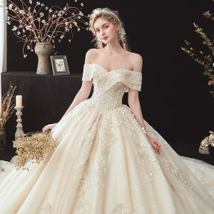 Chic / Beautiful Champagne Bridal Wedding Dresses 2020 Ball Gown Off-The-Shoulder Short Sleeve Backless Appliques Lace Beading Cathedral Train