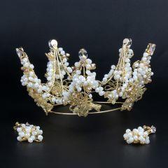 Mooie / Prachtige Goud Tiara Kralen Huwelijk Accessoires 2019 Metaal Bruids Haaraccessoires