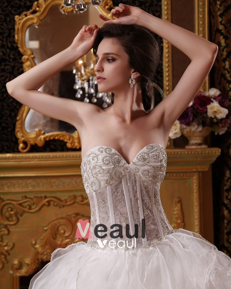Organza Beading Embroidery Sweetheart Floor Length Ball Gown Wedding Dresses