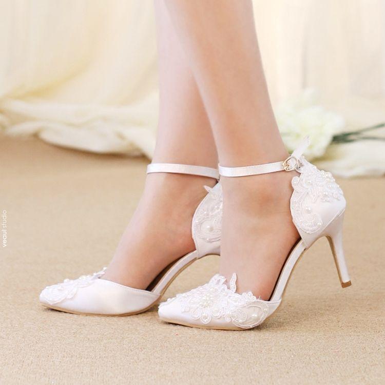 Chic / Beautiful 2017 8 cm / 3 inch White Casual Church Outdoor / Garden Lace PU Pearl Rhinestone High Heels Stiletto Heels Pumps Womens Sandals
