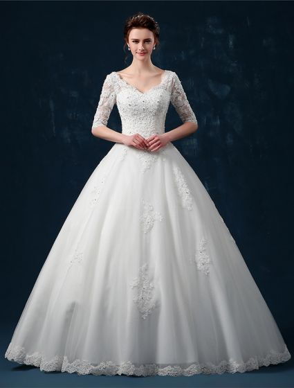 2015 Ball Gown Shoulders 1/2 Sleeves V-neck Beading Applique Lace Wedding Dress
