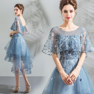 Modern / Fashion Pool Blue Cocktail Dresses 2018 A-Line / Princess Asymmetrical Lace Flower Pearl Scoop Neck Backless Short Sleeve Formal Dresses