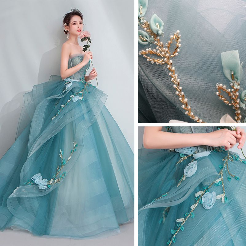 High-end Jade Green Prom Dresses 2020 Ball Gown Sweetheart Sleeveless Appliques Lace Beading Sweep Train Ruffle Backless Formal Dresses