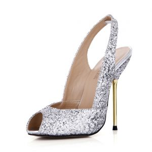 Schöne Silber Pailletten Slingpumps Sandalen Damen 2020 11 cm Stilettos Peeptoes Sandaletten