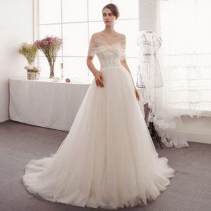 Elegant Champagne Wedding Dresses 2019 A-Line / Princess Off-The-Shoulder Sequins Lace Flower Short Sleeve Backless Sweep Train