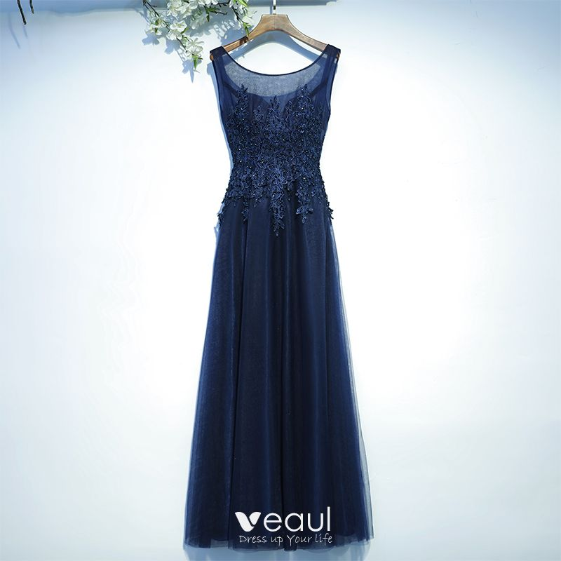 Chic Beautiful Navy Blue Wedding Party Dresses Bridesmaid Dresses 2017 Lace Sequins Flower Backless Sleeveless Floor Length Long A Line Princess