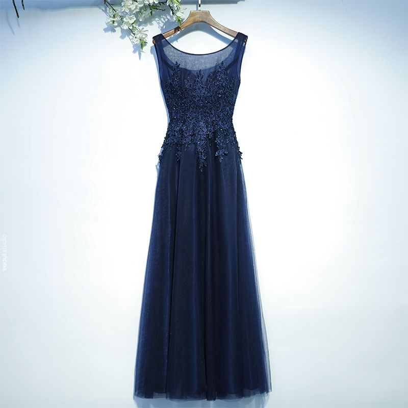 Chic / Beautiful Navy Blue Wedding Party Dresses Bridesmaid Dresses 2017 Lace Sequins Flower Backless Sleeveless Floor-Length / Long A-Line / Princess Scoop Neck