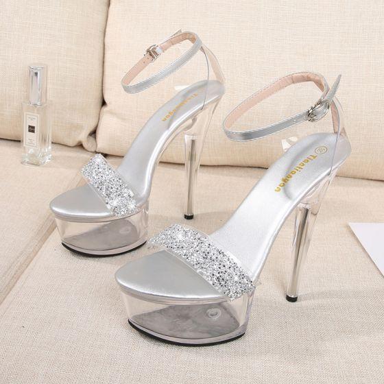 Sexy Plata Rave Club Rhinestone Sandalias De Mujer 2021 Correa Del Tobillo 14 cm Stilettos / Tacones De Aguja Peep Toe Sandalias High Heels