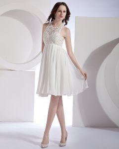 Hohlen-out Organza Chiffon Spitze Halter Mini Kurz Brautkleider Hochzeitskleid