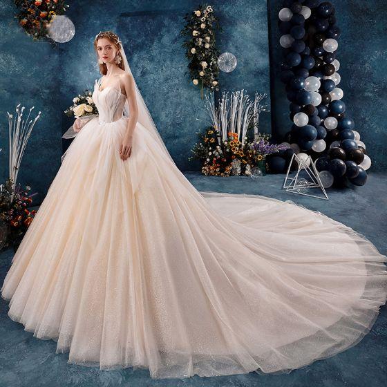 Chic / Beautiful Champagne Wedding Dresses 2019 Ball Gown Ruffle Strapless Beading Sleeveless Backless Royal Train